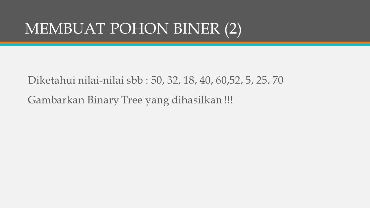 MEMBUAT POHON BINER (2) Diketahui nilai-nilai sbb : 50, 32, 18, 40, 60,52, 5, 25, 70 Gambarkan Binary Tree yang dihasilkan !!.