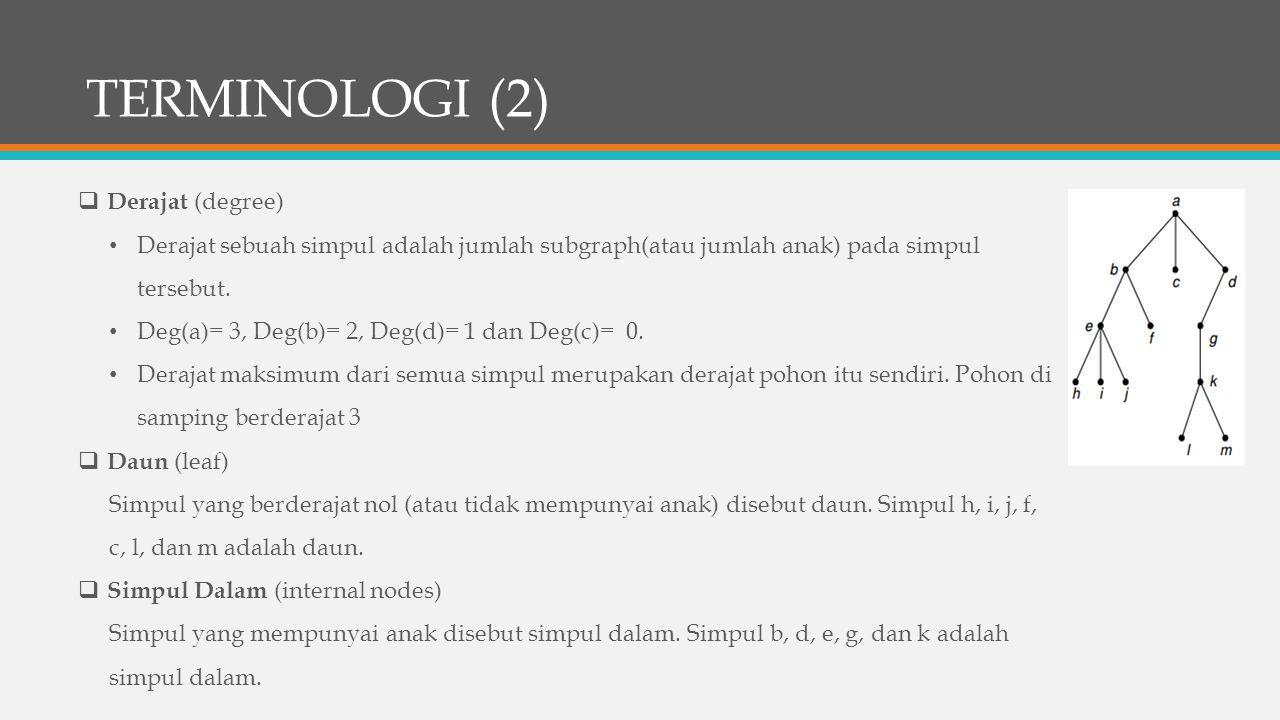TERMINOLOGI (2) Derajat (degree)