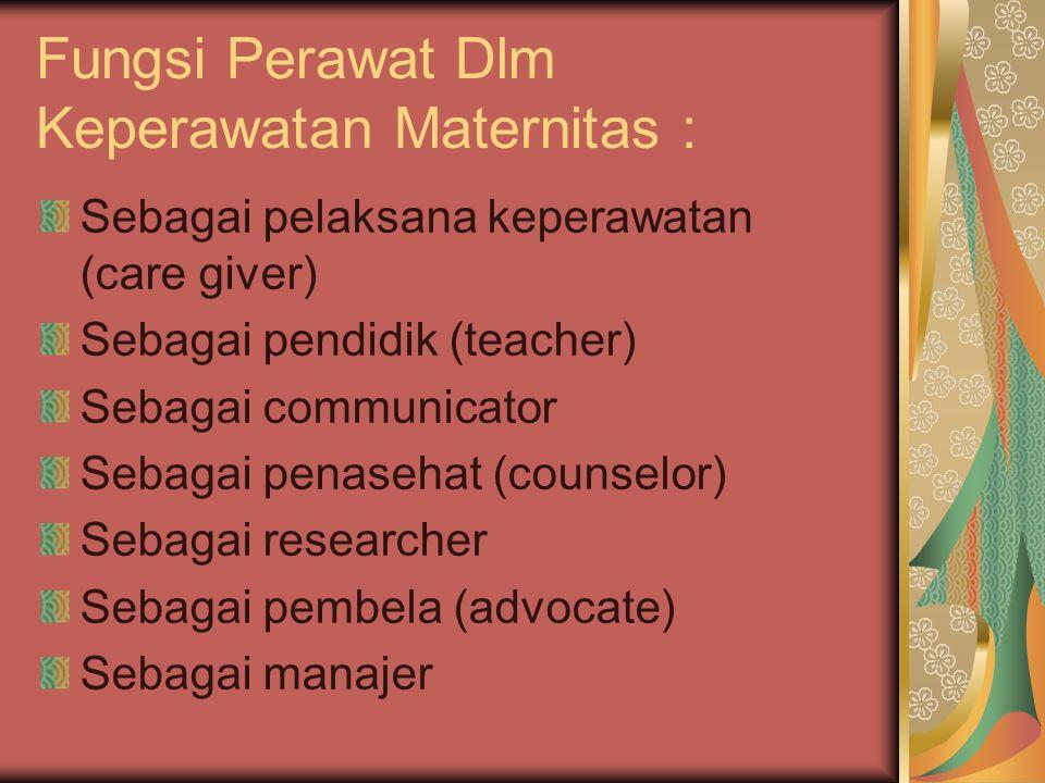 Fungsi Perawat Dlm Keperawatan Maternitas :