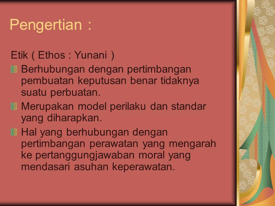 Pengertian : Etik ( Ethos : Yunani )