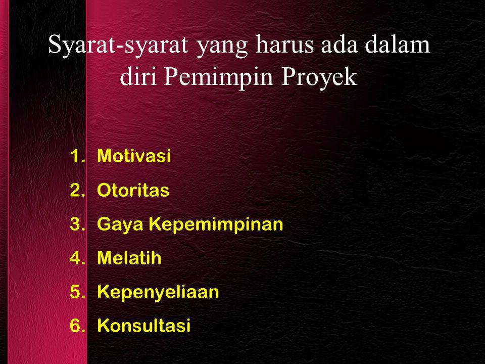 Syarat-syarat yang harus ada dalam diri Pemimpin Proyek