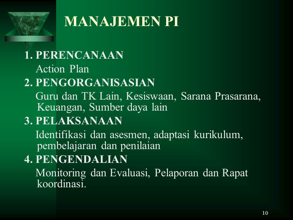 MANAJEMEN PI 1. PERENCANAAN Action Plan 2. PENGORGANISASIAN