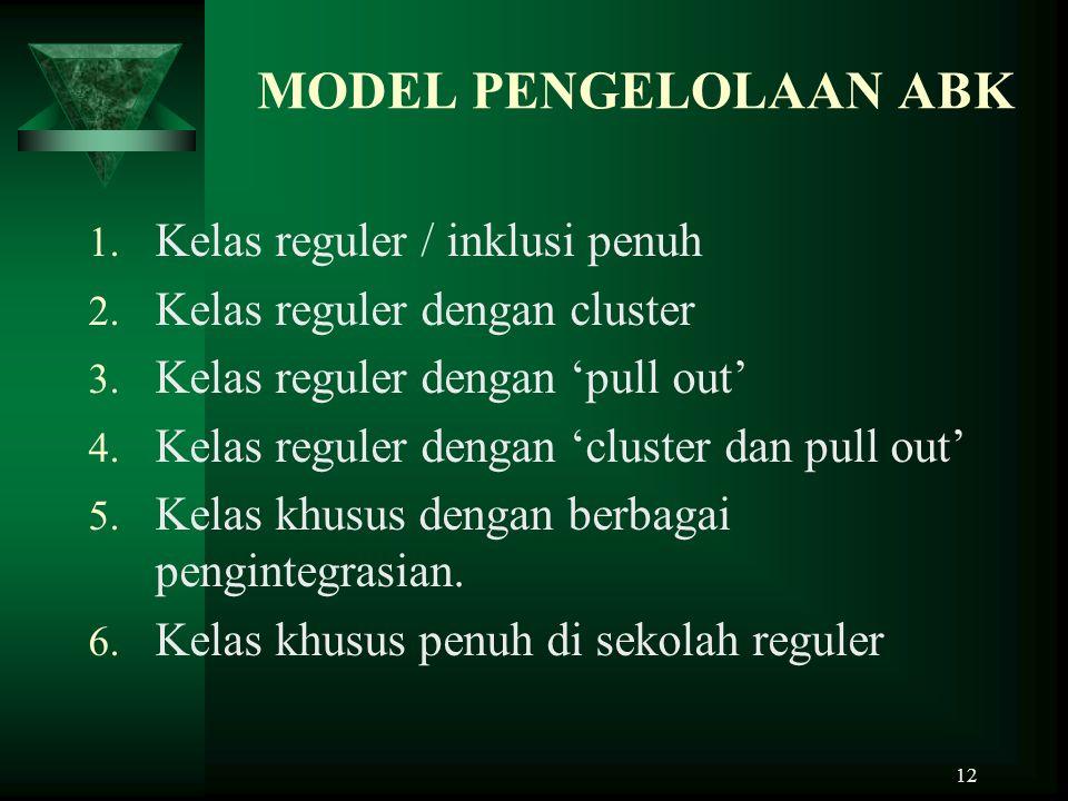 MODEL PENGELOLAAN ABK Kelas reguler / inklusi penuh