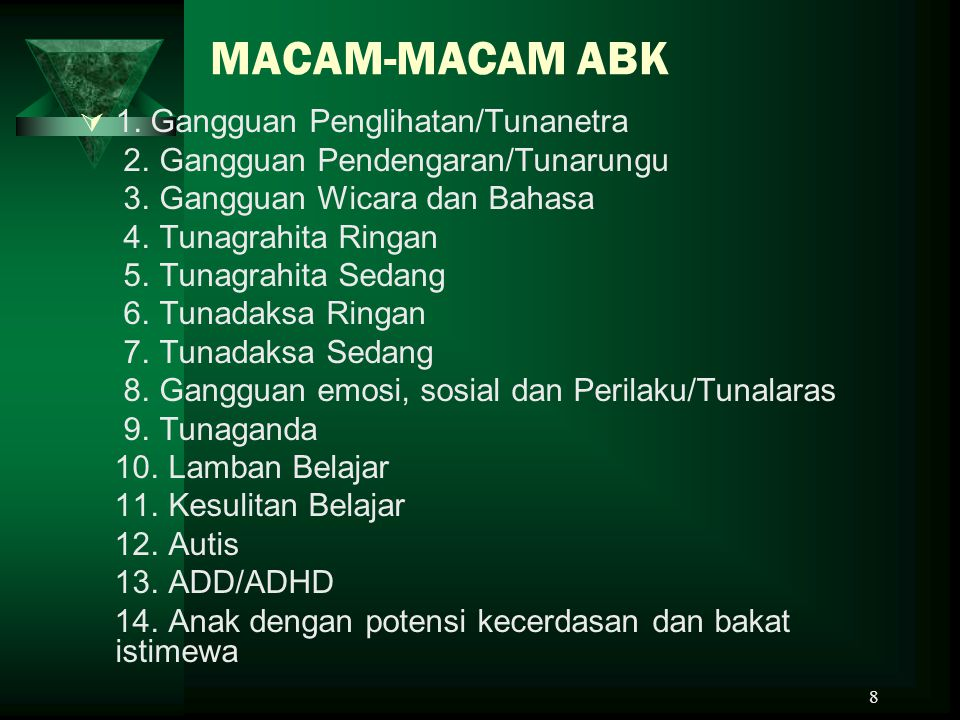 MACAM-MACAM ABK 1. Gangguan Penglihatan/Tunanetra