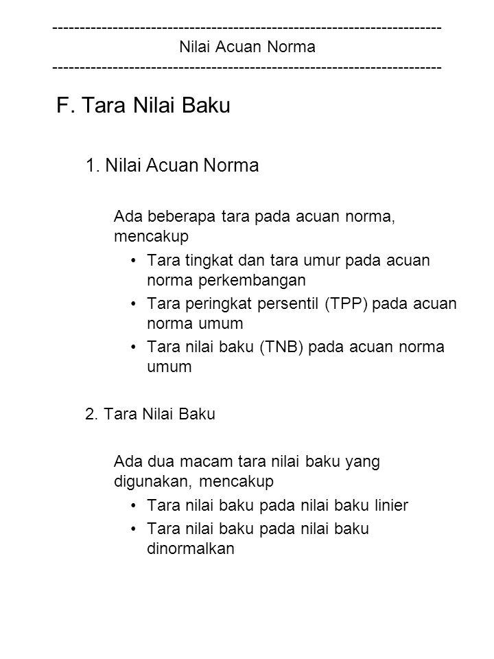 F. Tara Nilai Baku 1. Nilai Acuan Norma