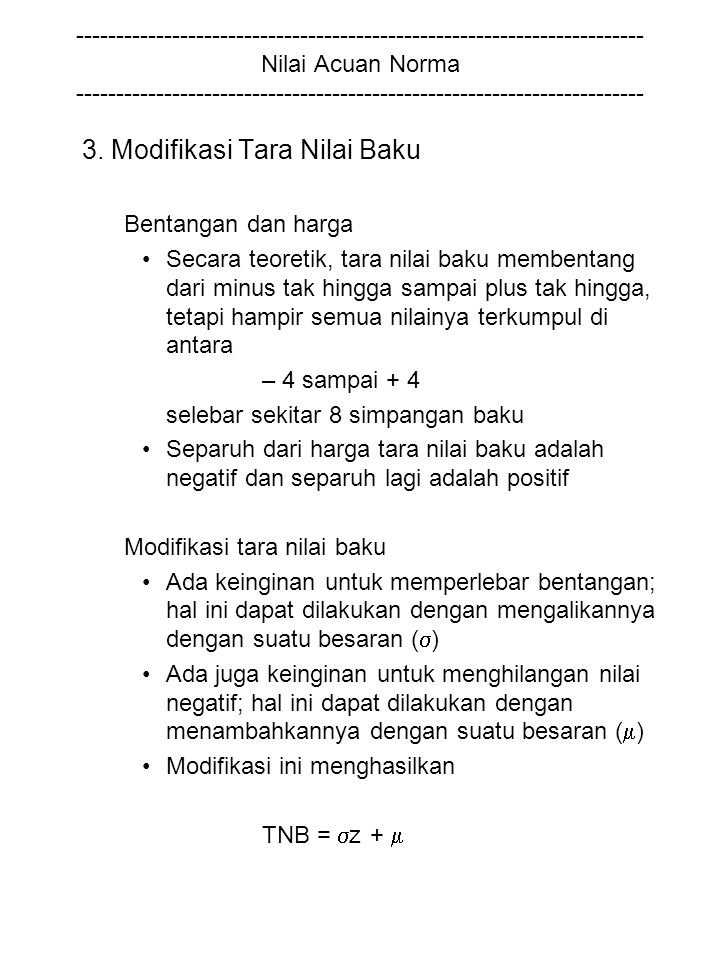 3. Modifikasi Tara Nilai Baku
