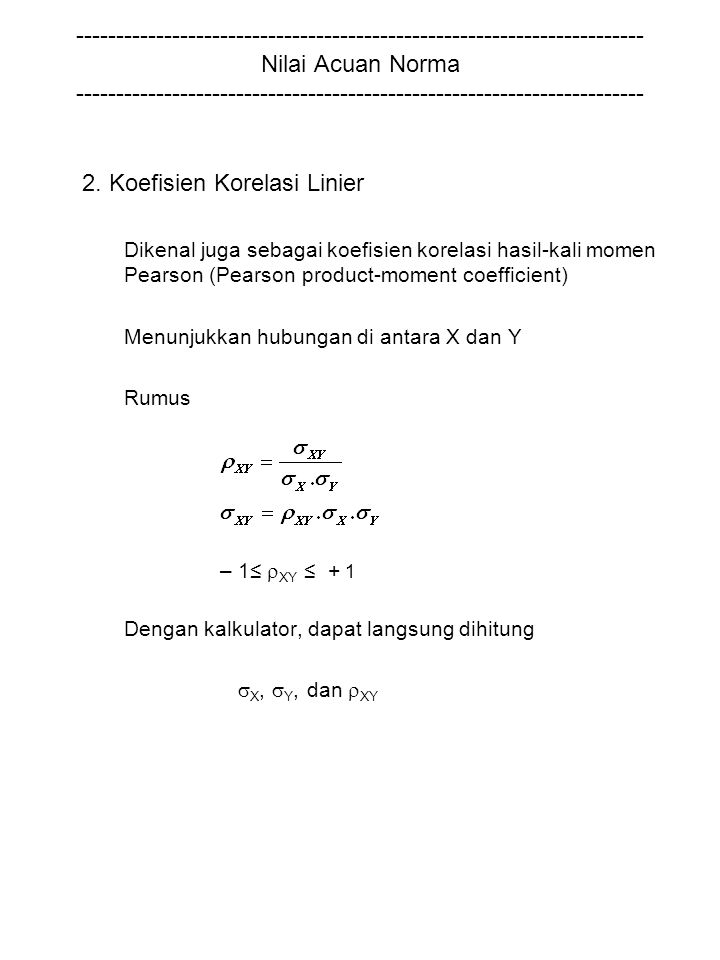 2. Koefisien Korelasi Linier