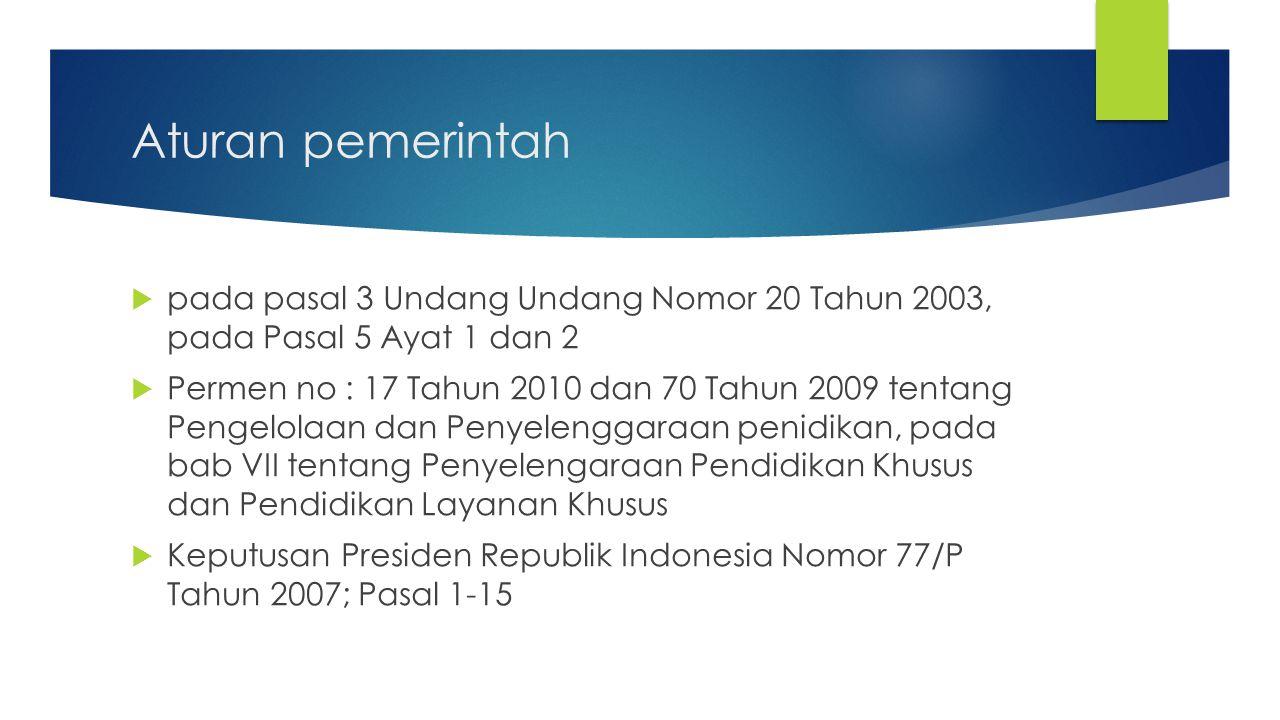 Aturan pemerintah pada pasal 3 Undang Undang Nomor 20 Tahun 2003, pada Pasal 5 Ayat 1 dan 2.