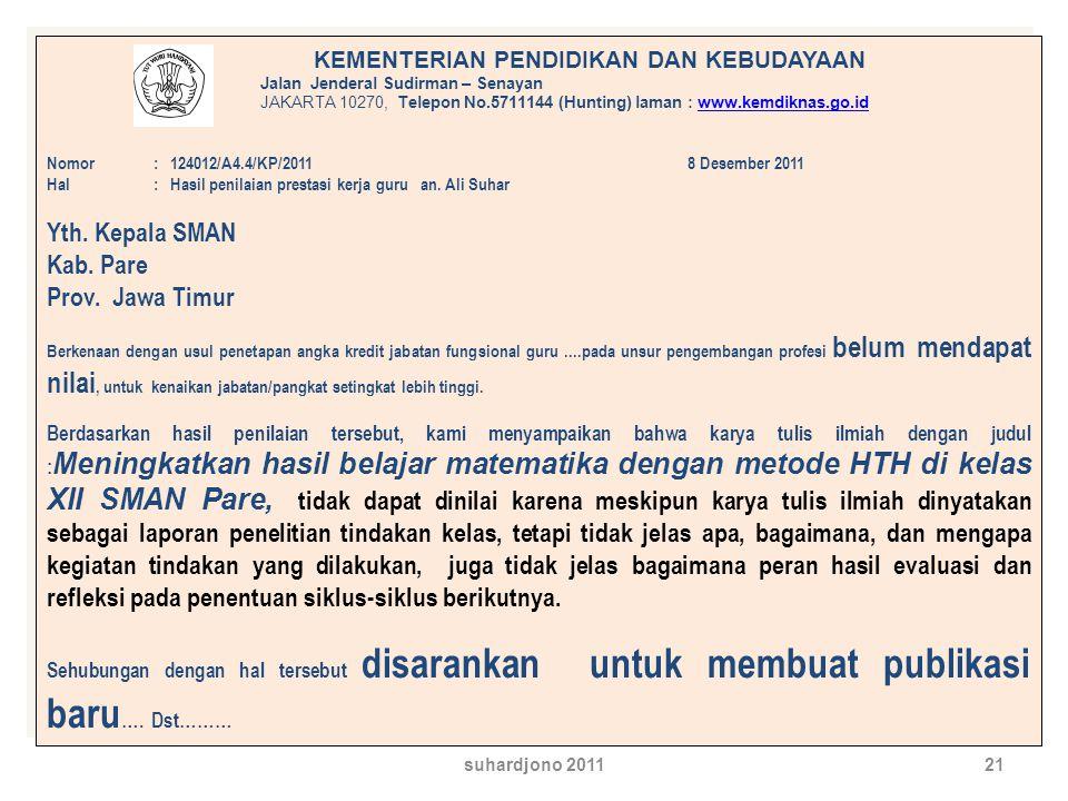 Yth. Kepala SMAN Kab. Pare Prov. Jawa Timur