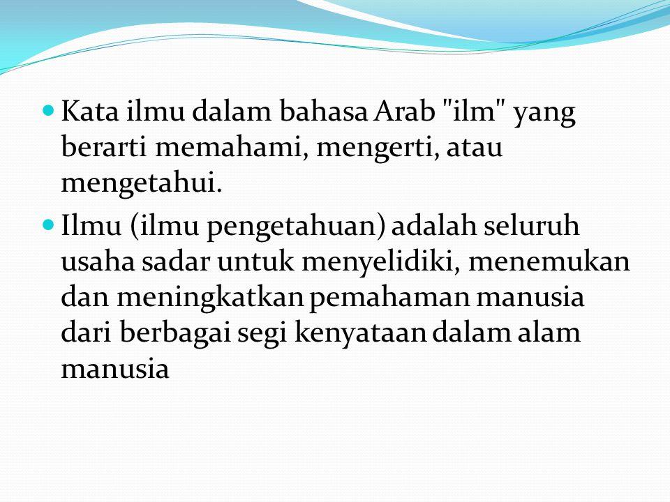 Kata ilmu dalam bahasa Arab ilm yang berarti memahami, mengerti, atau mengetahui.