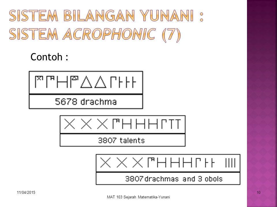 Sistem Bilangan Yunani : Sistem Acrophonic (7)