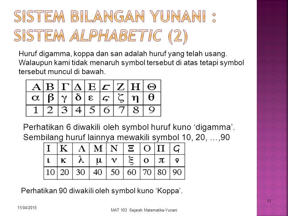 Sistem Bilangan Yunani : Sistem Alphabetic (2)