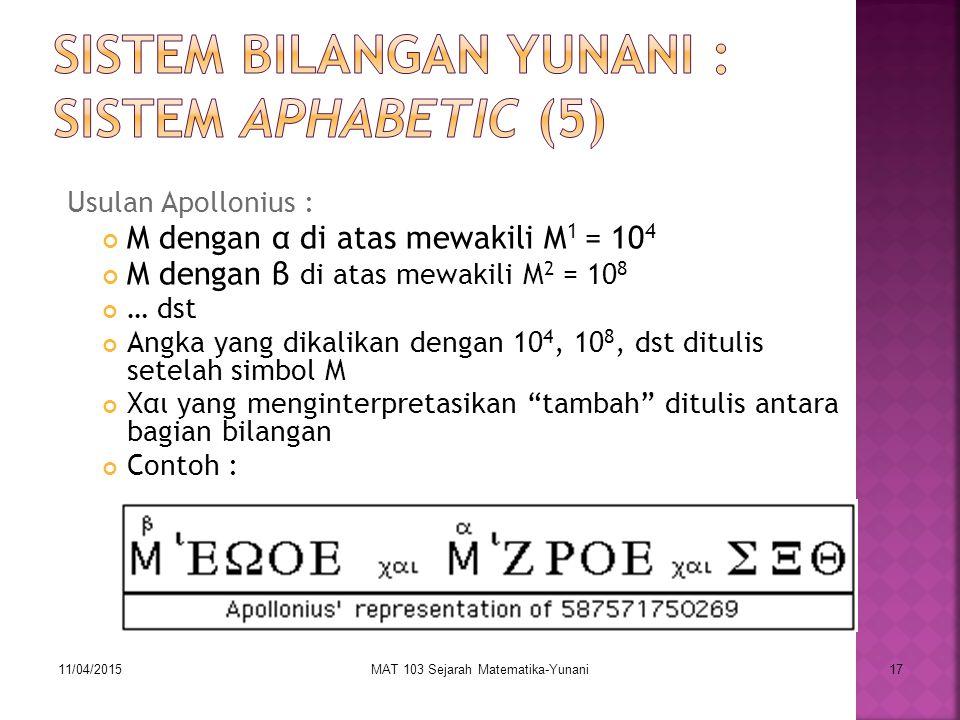 Sistem Bilangan Yunani : Sistem Aphabetic (5)