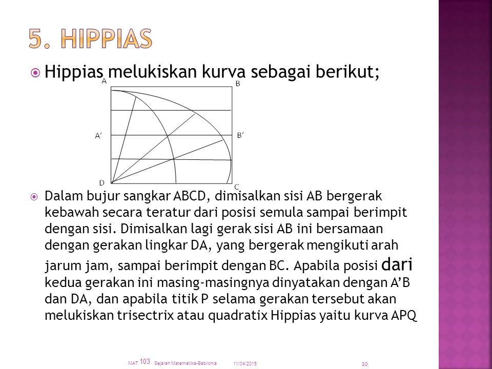5. HIPPIAS Hippias melukiskan kurva sebagai berikut;