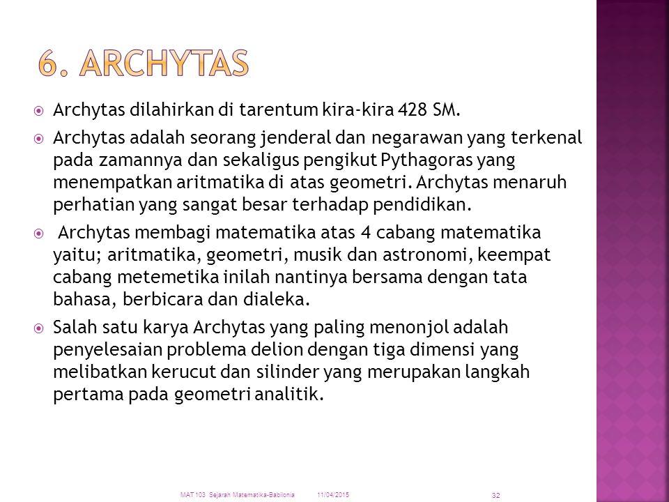 6. ARCHYTAS Archytas dilahirkan di tarentum kira-kira 428 SM.