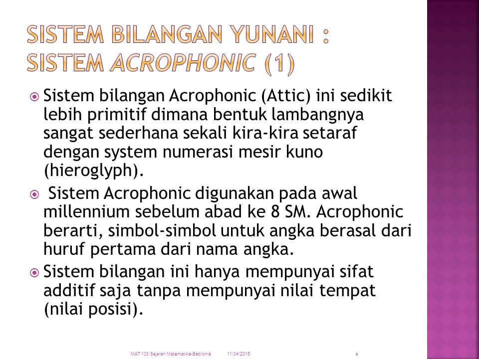 Sistem Bilangan Yunani : Sistem Acrophonic (1)