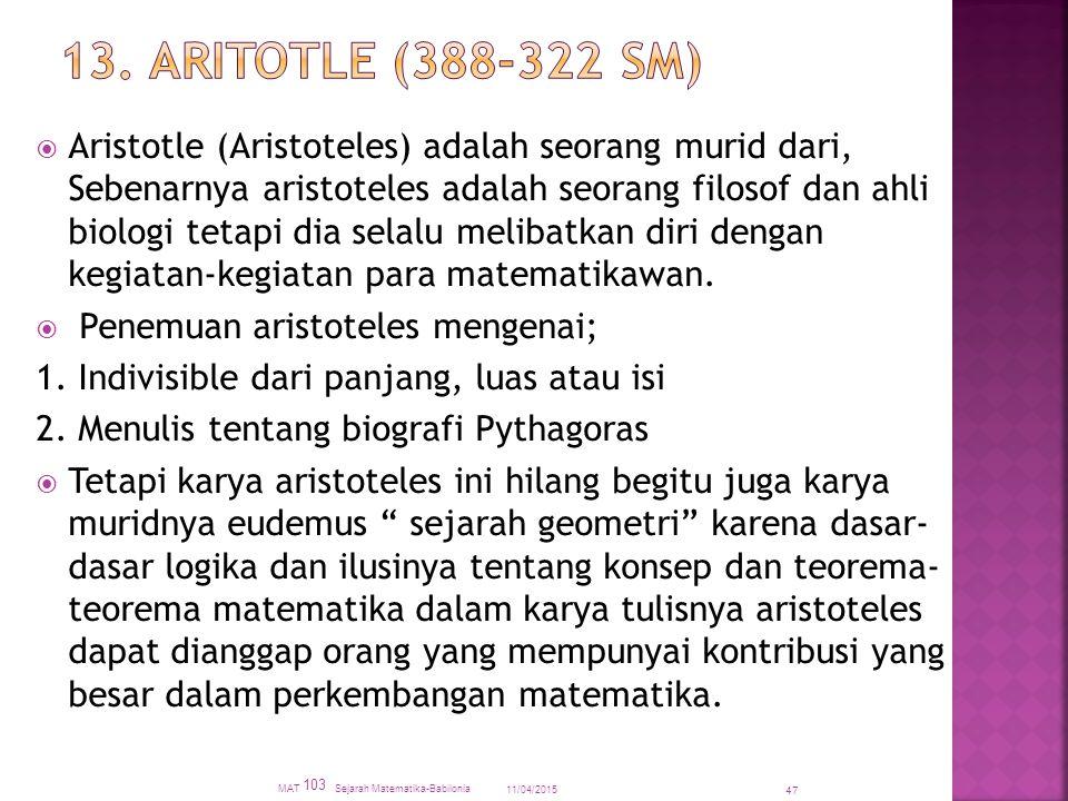13. ARITOTLE (388-322 SM)