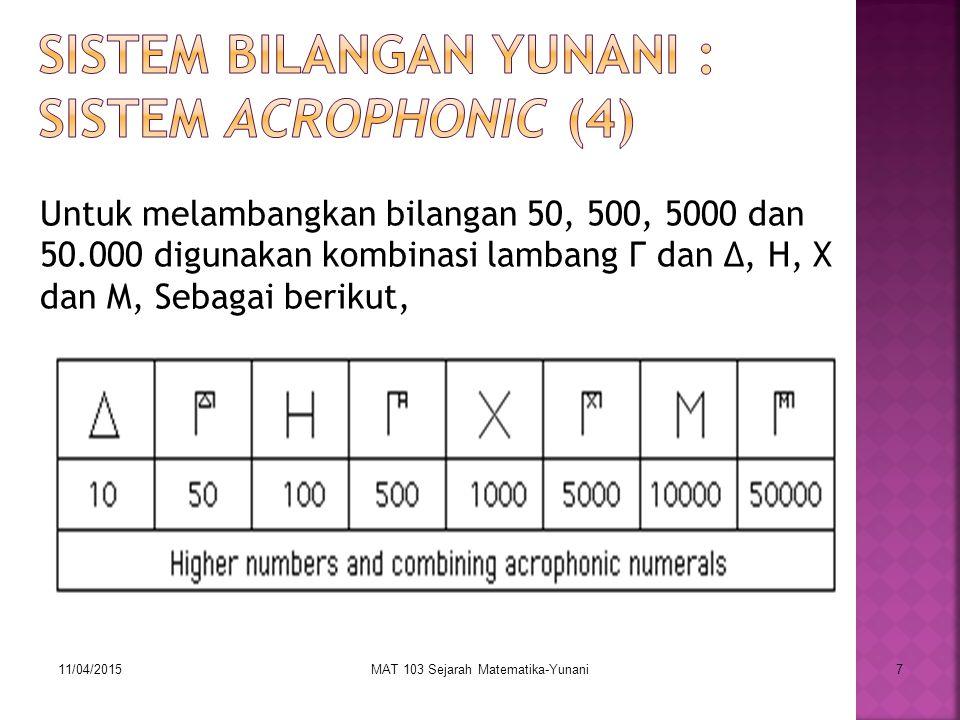 Sistem Bilangan Yunani : Sistem Acrophonic (4)