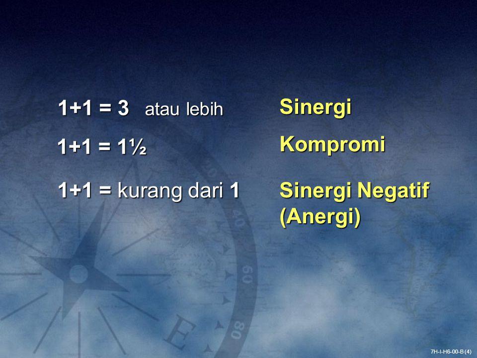 1+1 = 3 atau lebih Sinergi 1+1 = 1½ Kompromi 1+1 = kurang dari 1