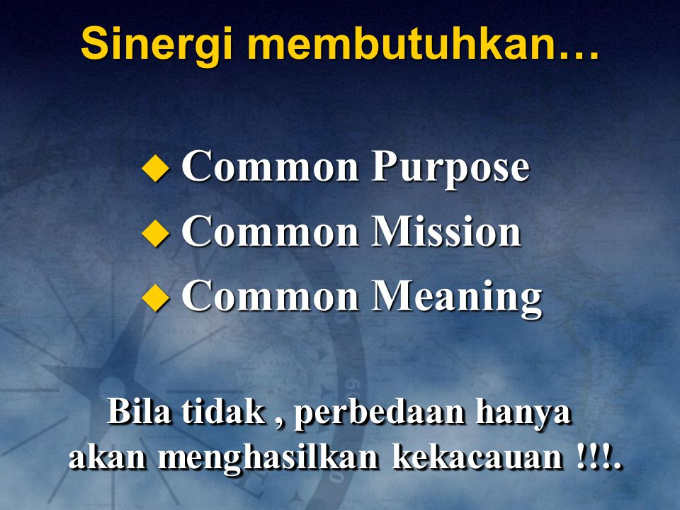 Bila tidak , perbedaan hanya akan menghasilkan kekacauan !!!.