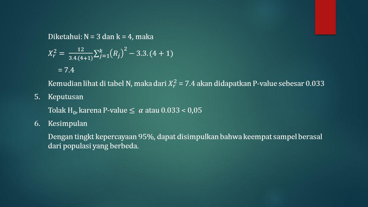 Diketahui: N = 3 dan k = 4, maka