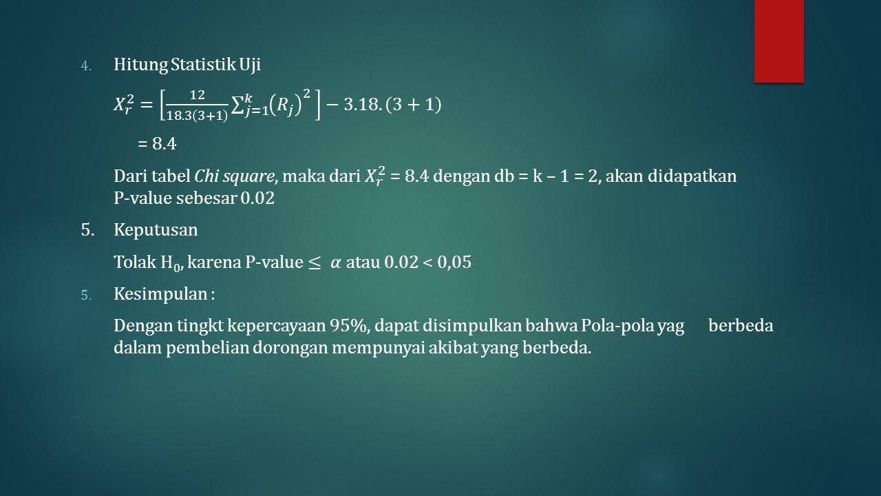 Hitung Statistik Uji 𝑋 𝑟 2 = 12 18.3 3+1 𝑗=1 𝑘 𝑅 𝑗 2 −3.18. 3+1. = 8.4.