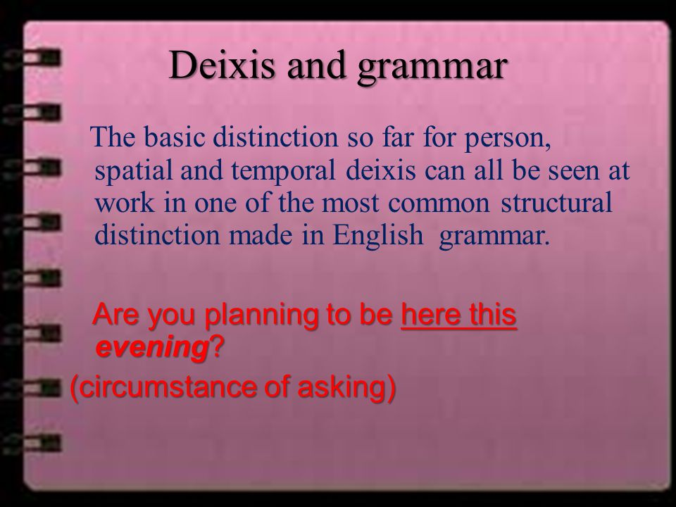 Deixis and grammar