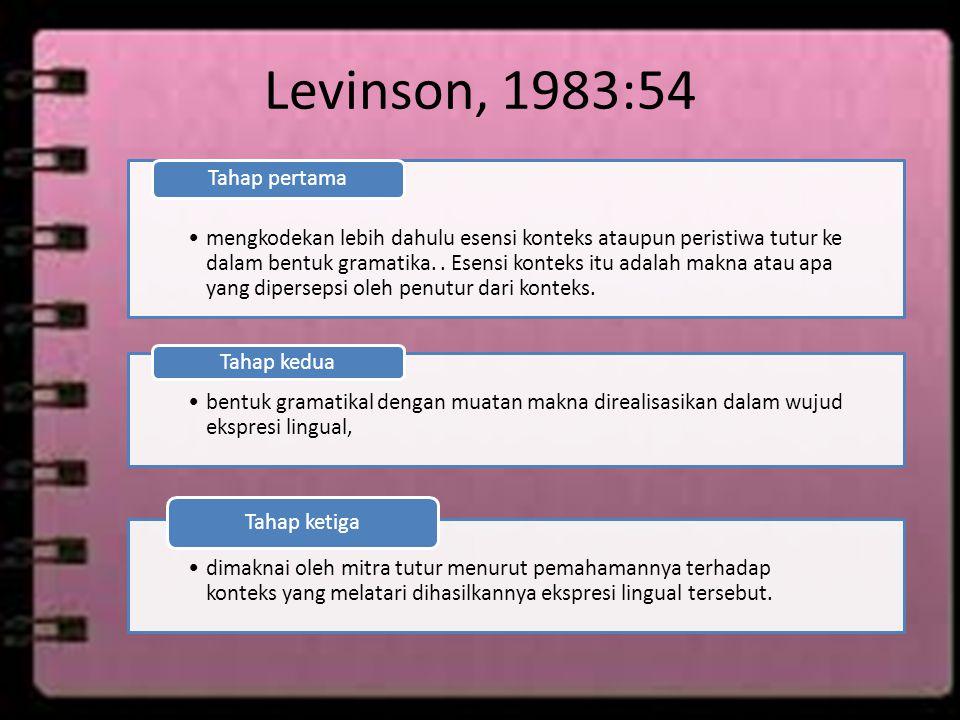 Levinson, 1983:54 Tahap pertama