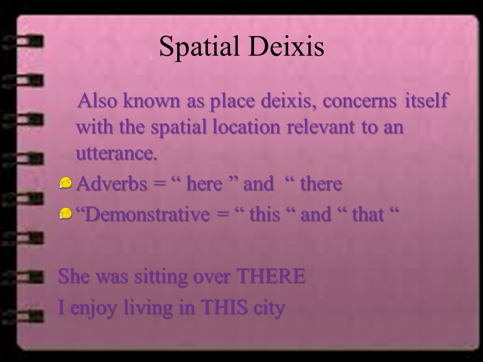 Spatial Deixis Also known as place deixis, concerns itself with the spatial location relevant to an utterance.