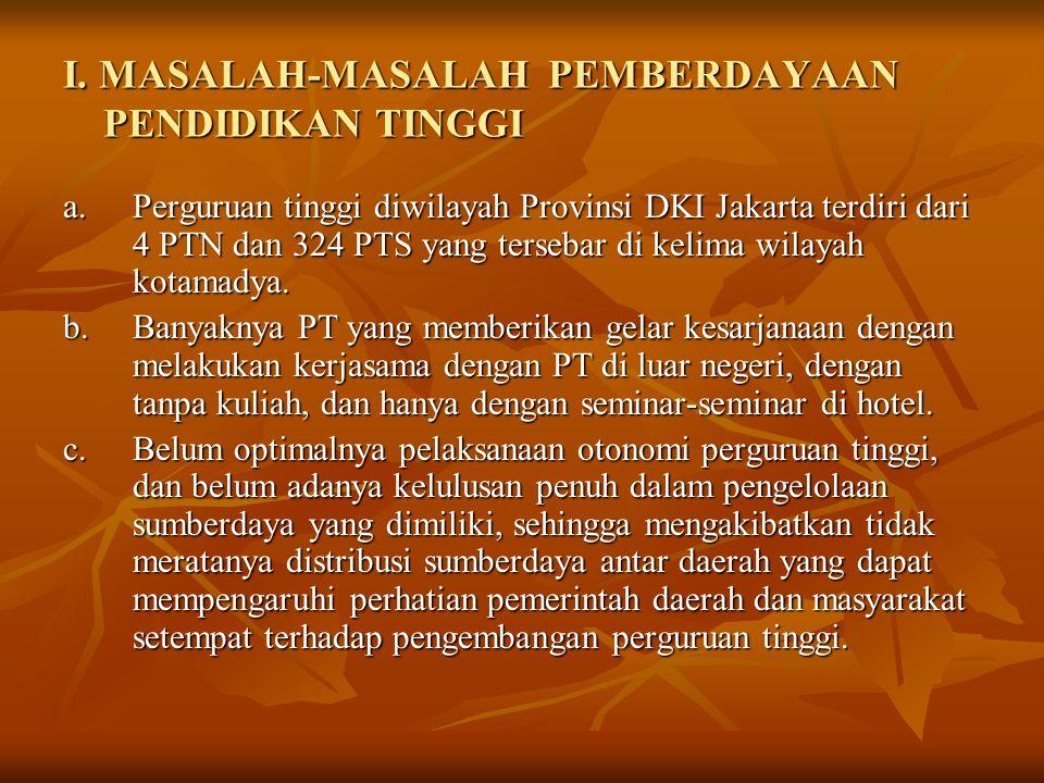I. MASALAH-MASALAH PEMBERDAYAAN PENDIDIKAN TINGGI