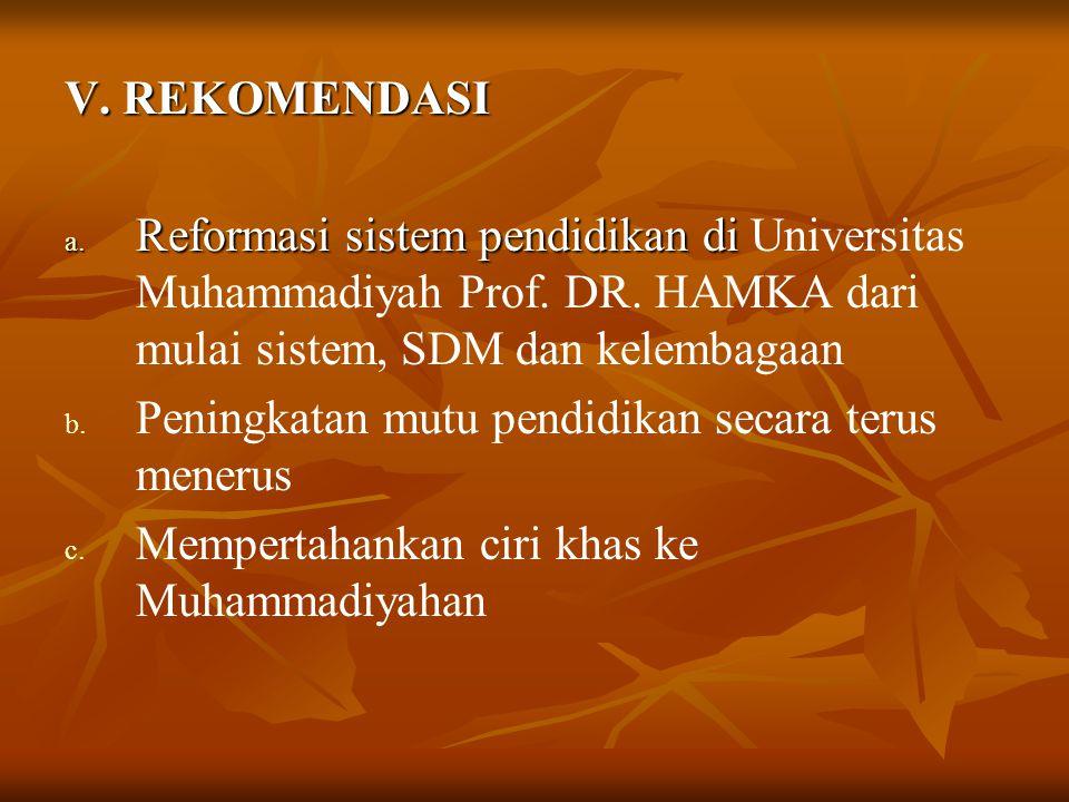 V. REKOMENDASI Reformasi sistem pendidikan di Universitas Muhammadiyah Prof. DR. HAMKA dari mulai sistem, SDM dan kelembagaan.