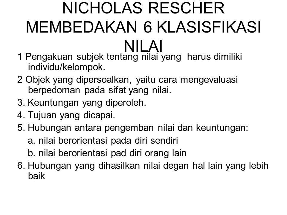 NICHOLAS RESCHER MEMBEDAKAN 6 KLASISFIKASI NILAI