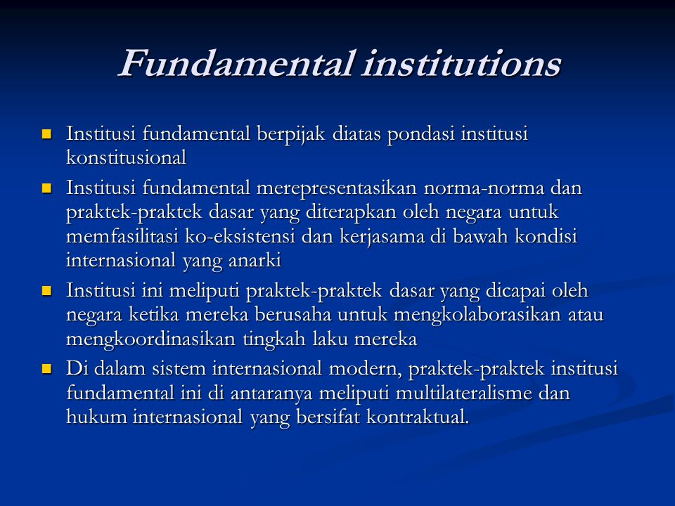 Fundamental institutions