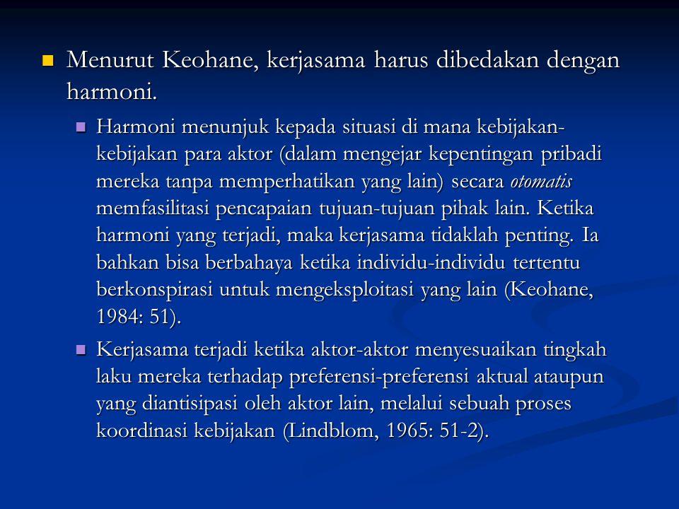 Menurut Keohane, kerjasama harus dibedakan dengan harmoni.