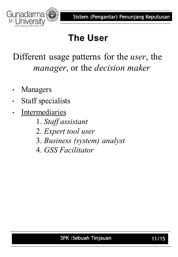 The User Different usage patterns for the user, the manager, or the decision maker. Managers. Staff specialists.