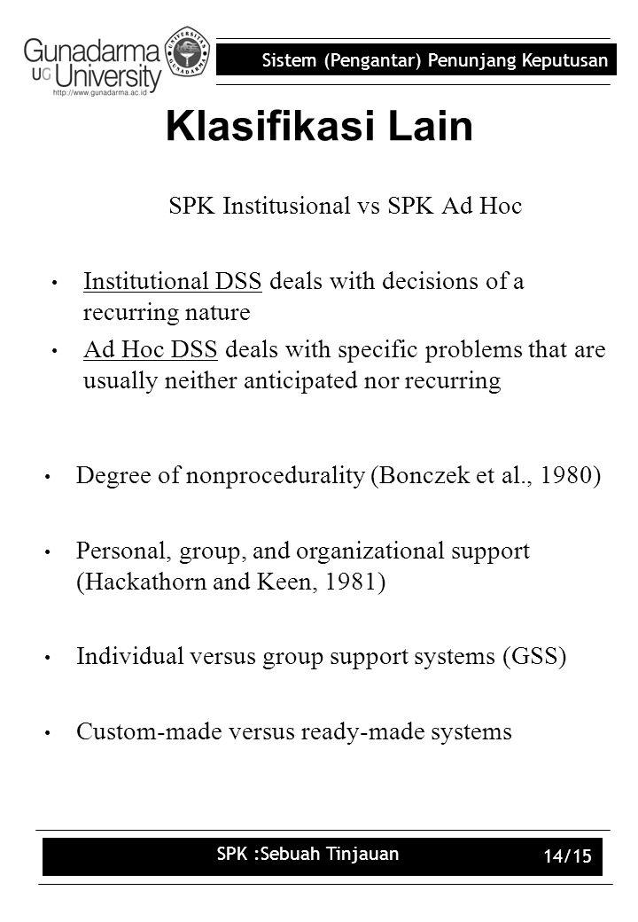 SPK Institusional vs SPK Ad Hoc