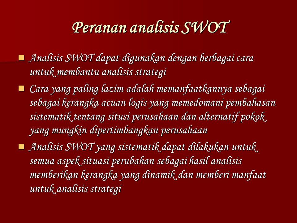 Peranan analisis SWOT Analisis SWOT dapat digunakan dengan berbagai cara untuk membantu analisis strategi.