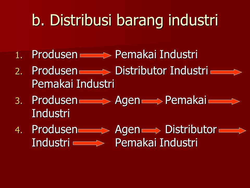 b. Distribusi barang industri