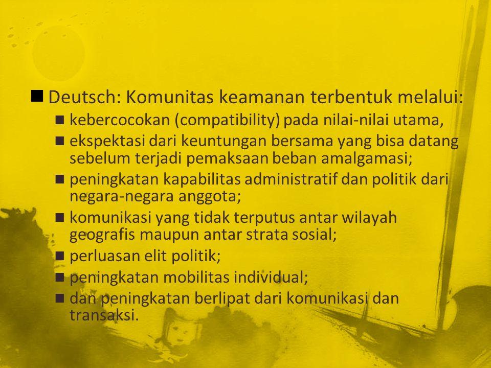 Deutsch: Komunitas keamanan terbentuk melalui: