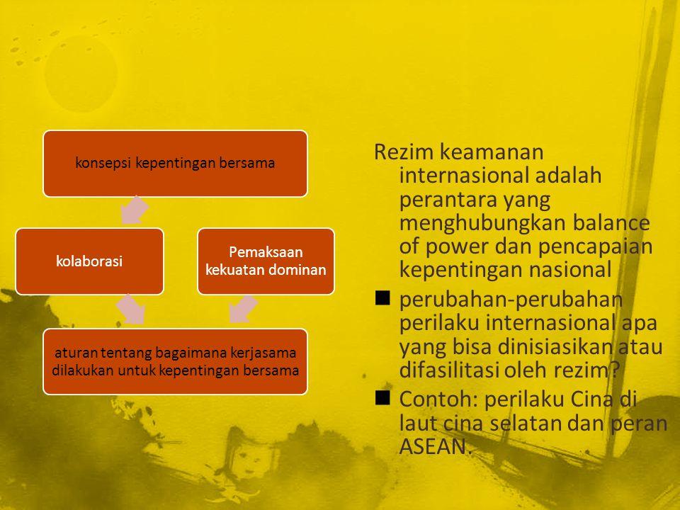 Contoh: perilaku Cina di laut cina selatan dan peran ASEAN.