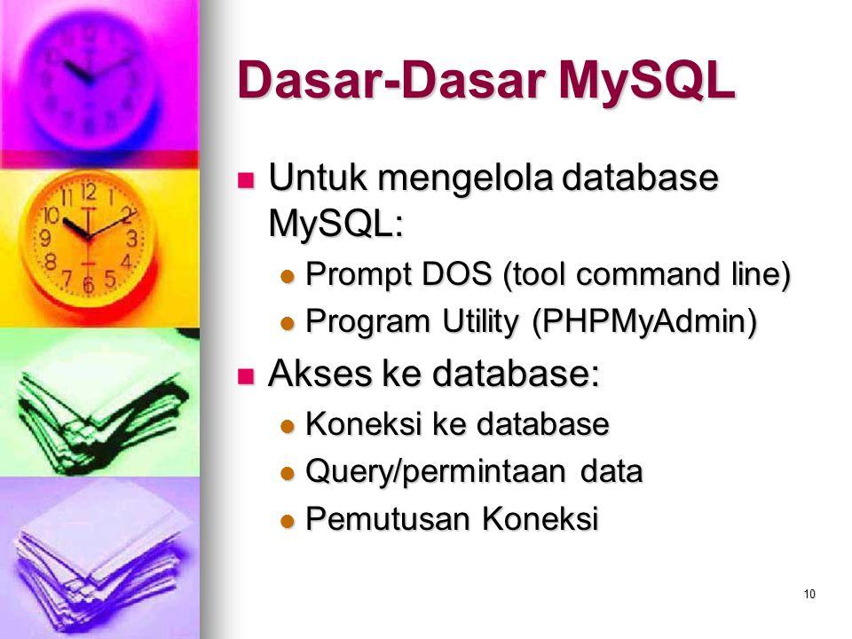 Dasar-Dasar MySQL Untuk mengelola database MySQL: Akses ke database: