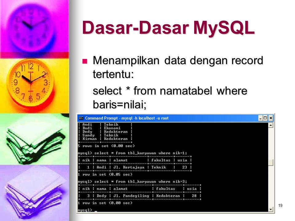 Dasar-Dasar MySQL Menampilkan data dengan record tertentu:
