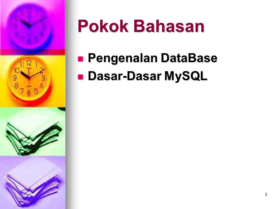 Pokok Bahasan Pengenalan DataBase Dasar-Dasar MySQL