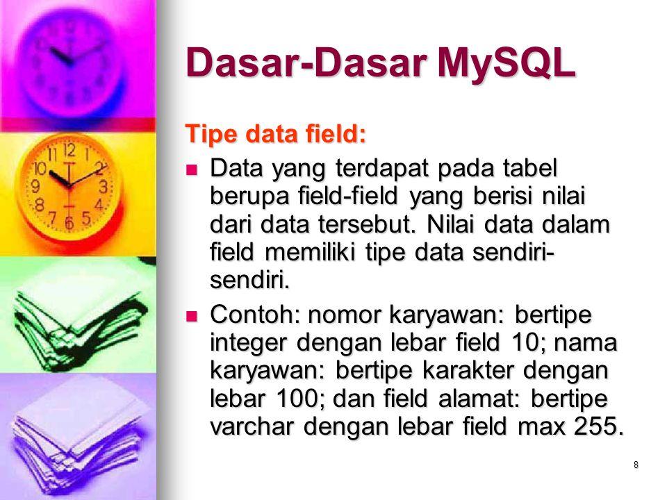 Dasar-Dasar MySQL Tipe data field:
