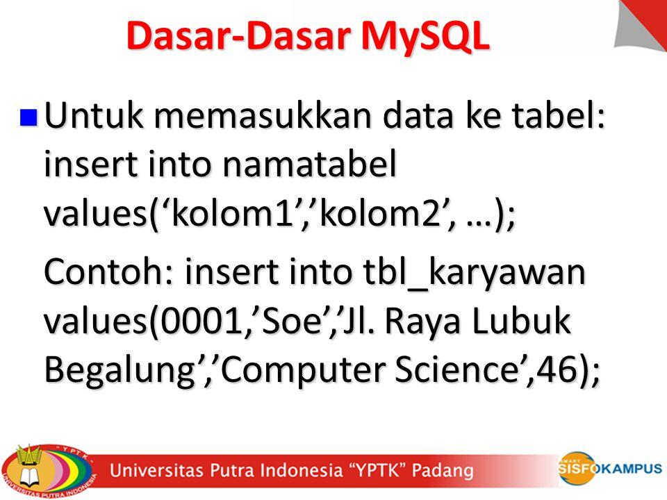 Dasar-Dasar MySQL Untuk memasukkan data ke tabel: insert into namatabel values('kolom1','kolom2', …);