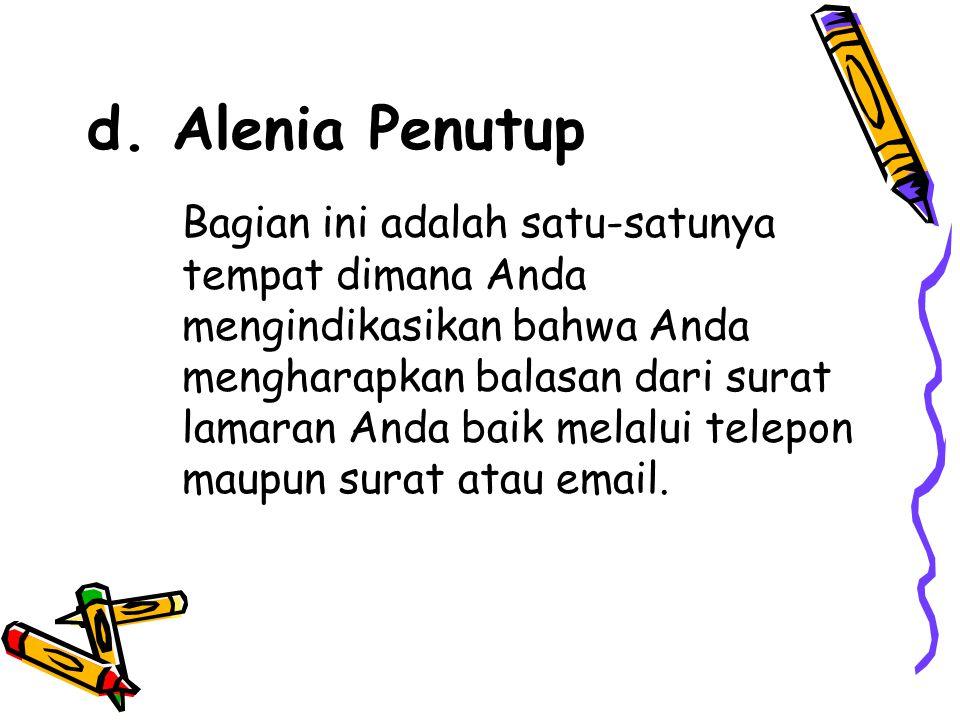 d. Alenia Penutup