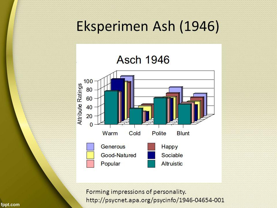 Eksperimen Ash (1946) Forming impressions of personality.