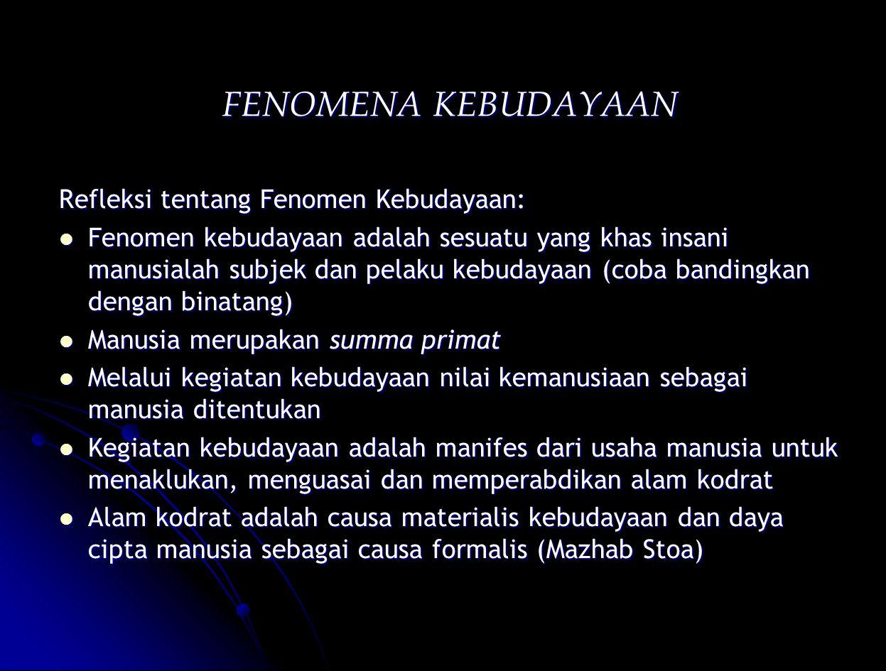 FENOMENA KEBUDAYAAN Refleksi tentang Fenomen Kebudayaan: