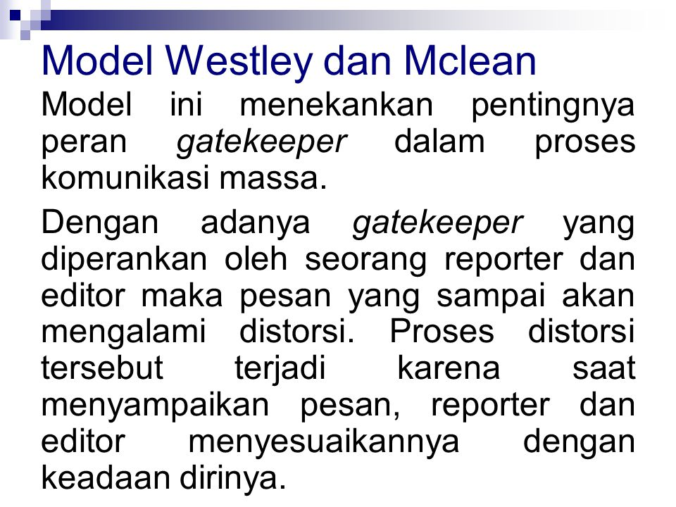 Model Westley dan Mclean