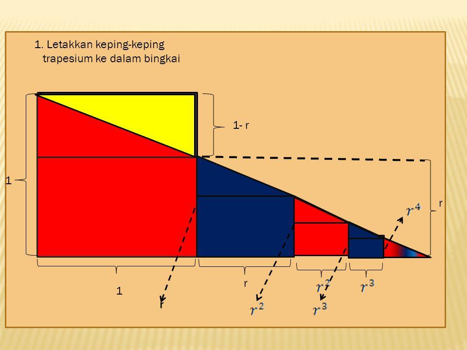 1. Letakkan keping-keping trapesium ke dalam bingkai